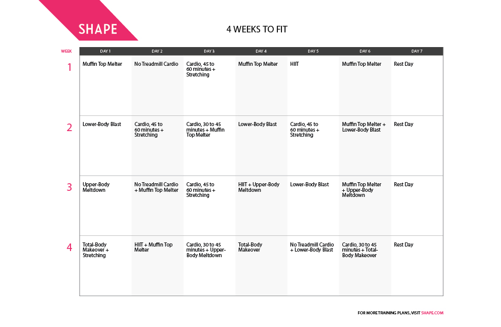 4 Weeks to Fit One-Month Workout Plan for Spring Shape Magazine - weekly workout plan