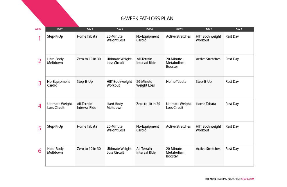 6 Week Workout Program to Burn Fat Shape Magazine - weekly workout plan