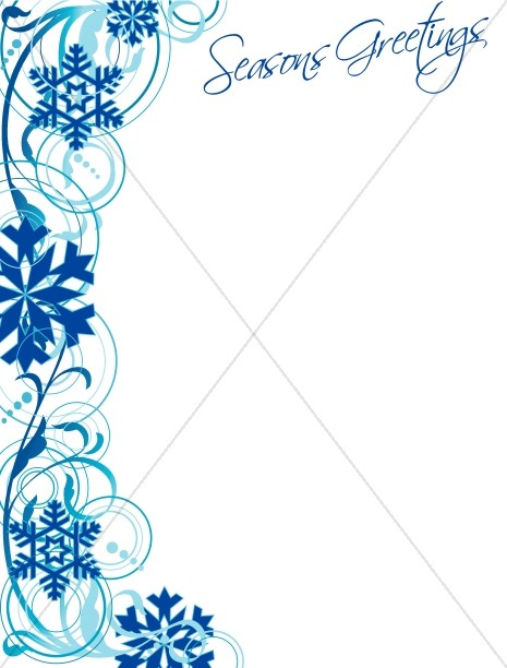 Snowflake Border and Seasons Greetings Christian Christmas Borders - snowflake borders for word