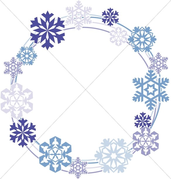 Snowflakes Circle Border Snowflake Images - snowflake borders for word