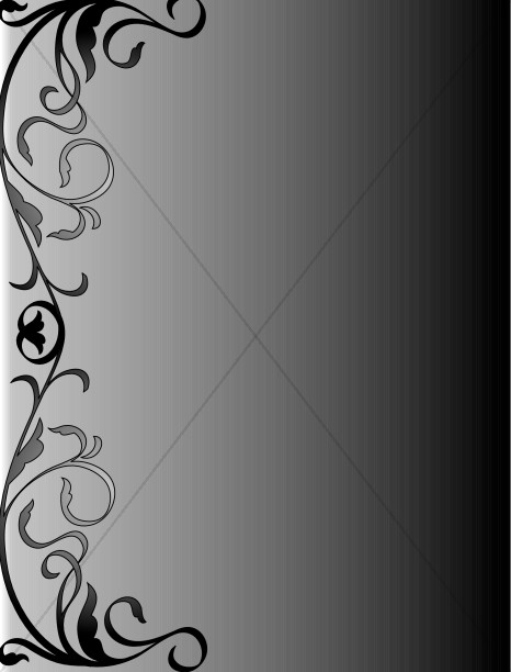 Black and Gray Swirly Background Religious Borders - funeral program background