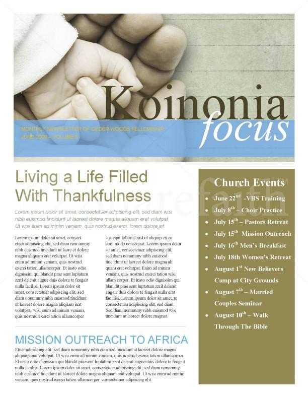 Hand In Hand Church Church Newsletter Template Newsletter Templates