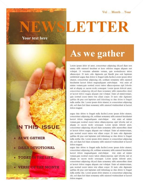Hands And Leaf Church Newsletter Design Template Newsletter - church newsletter