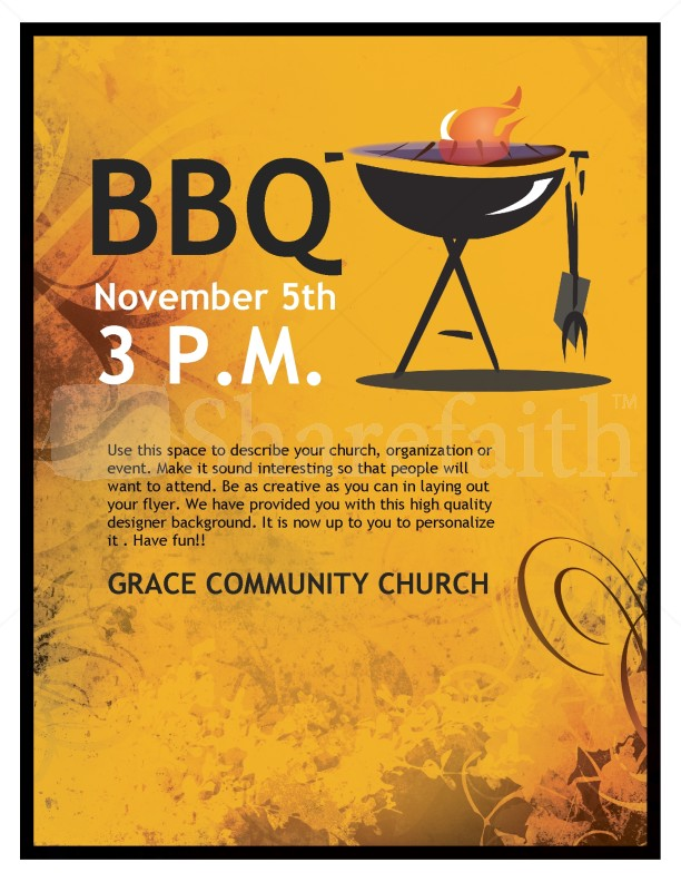 BBQ Church Flyer Template Flyer Templates - bbq flyer