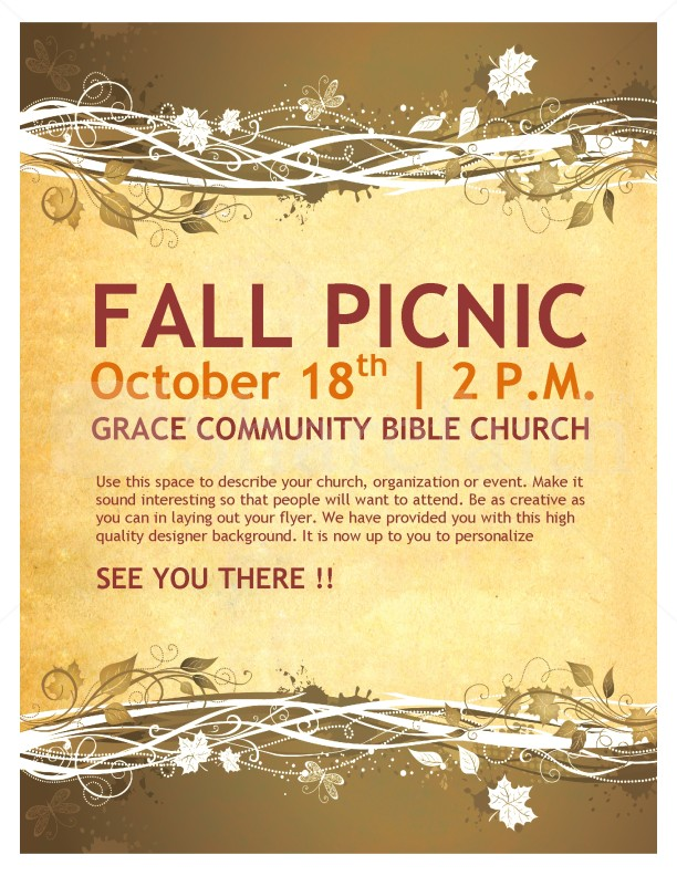 Fall Picnic Chruch Flyer Template Flyer Templates