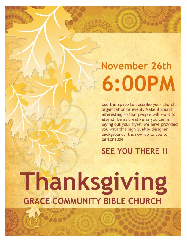 Thanksgiving Church Flyer Template Flyer Templates - microsoft templates for flyers