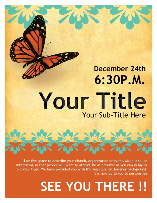 Church Flyer Butterfly Template Flyer Templates - microsoft templates for flyers