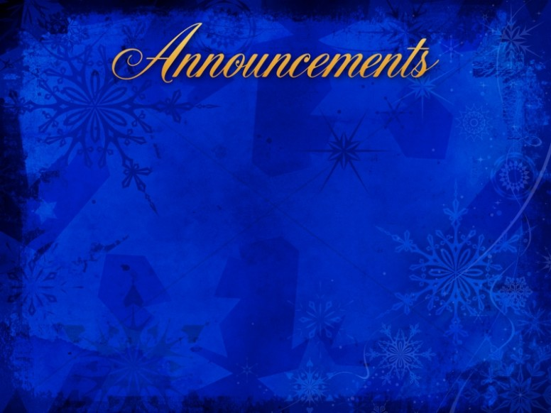 Christmas Snowflake Announcement Background Church Announcements