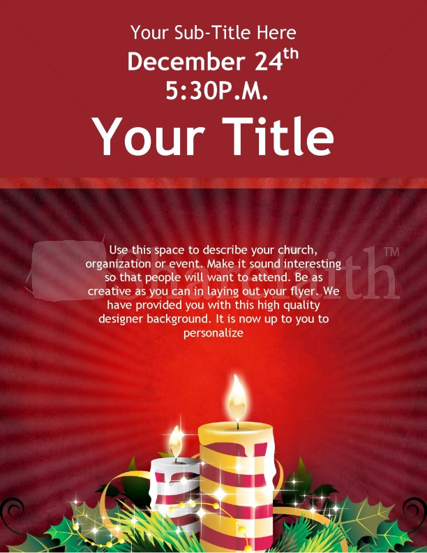 Christmas Candles Flyer Template Template Flyer Templates