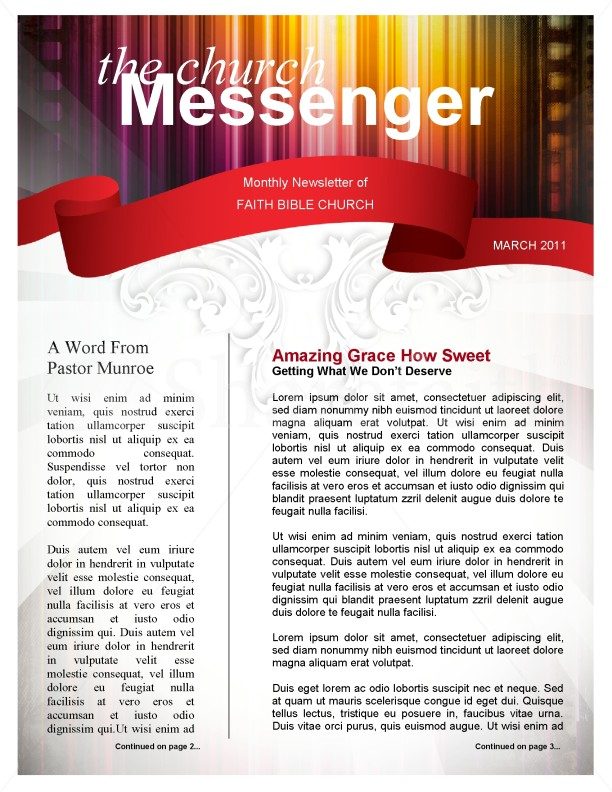 Colors Church Newsletter Template Template Newsletter Templates - church newsletter