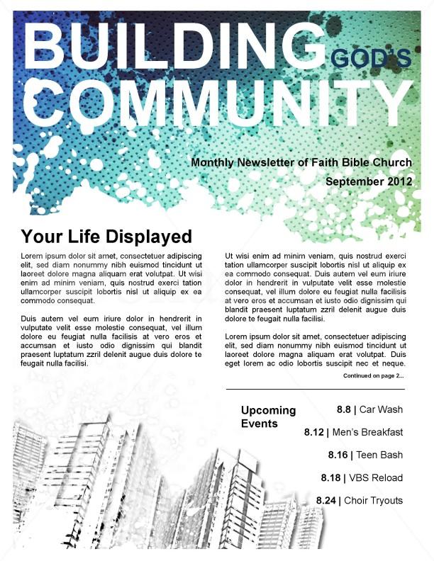 Community Church Newsletter Template Template Newsletter Templates - church newsletter