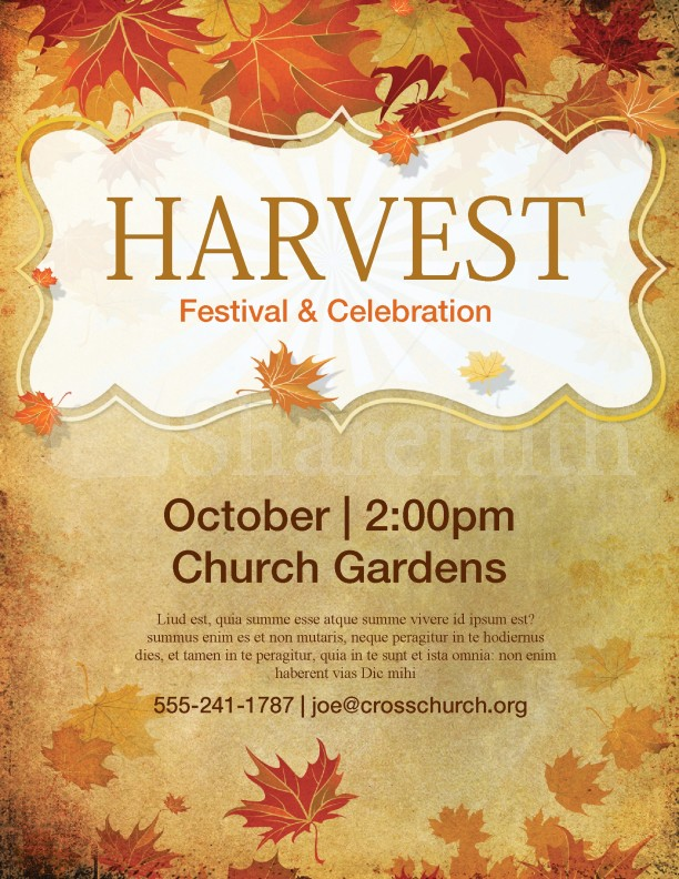 Church Harvest Festival Flyer Template Template Flyer Templates