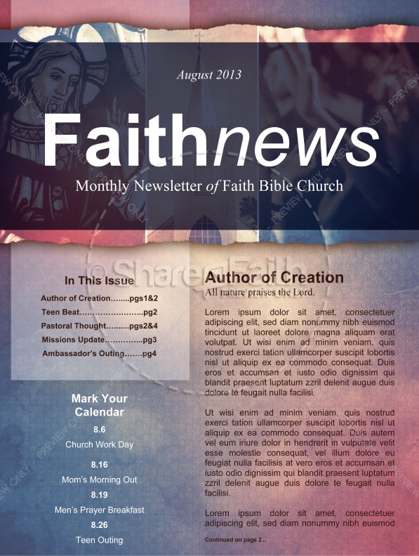 Define Church Newsletter Template Template Newsletter Templates