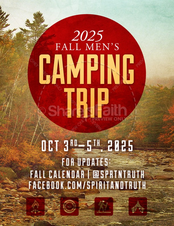 My Help Comes From You Camping Trip Ministry Flyer Template - camp flyer template