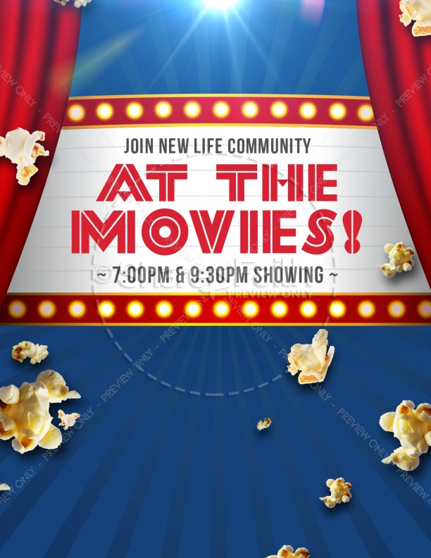 At the Movies Church Night Ministry Flyer Template Flyer Templates - movie night flyer template
