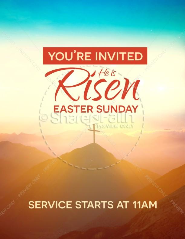 Risen Easter Sunday Church Flyer Template Flyer Templates