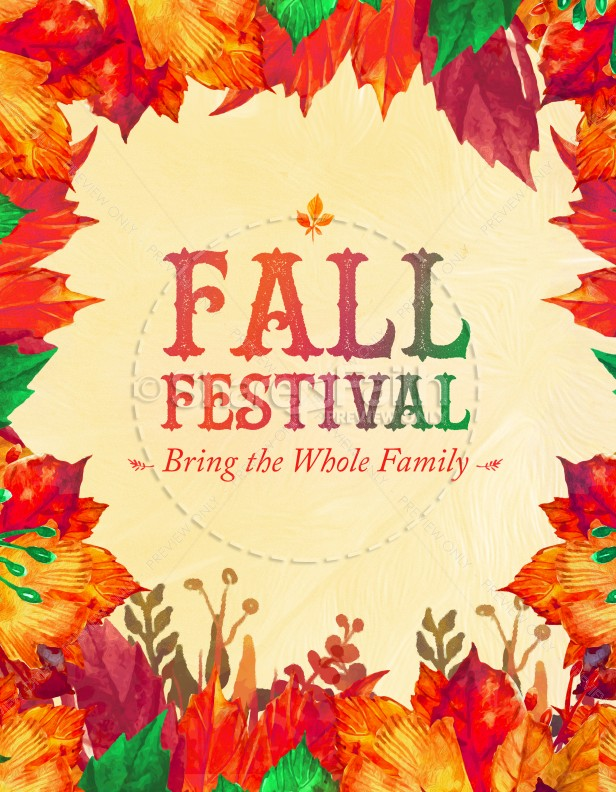 Fall Festival Autumn Leaves Church Flyer Template Template Flyer