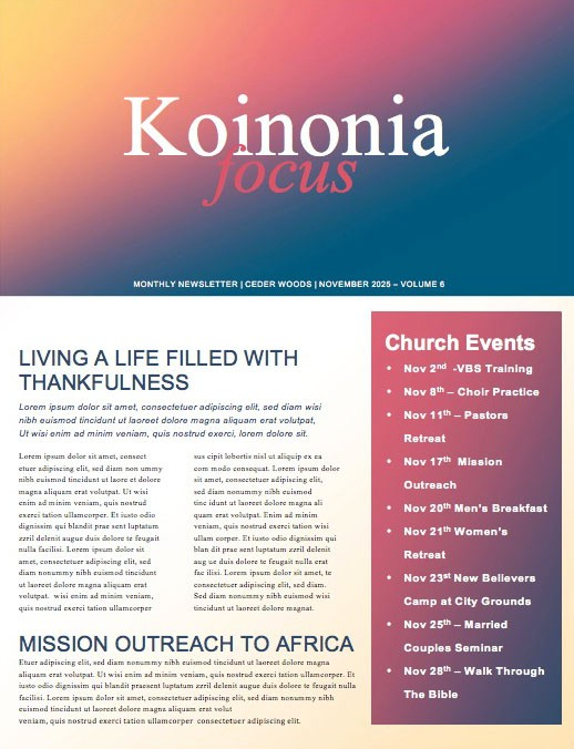 Beautiful edit-ready Church Newsletters and Newsletter Templates - church newsletter