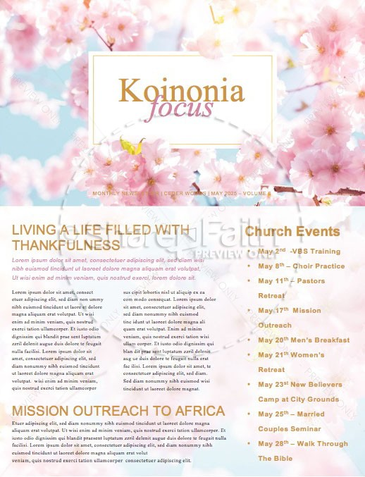 Mother\u0027s Day Cherry Blossom Church Newsletter Template Template