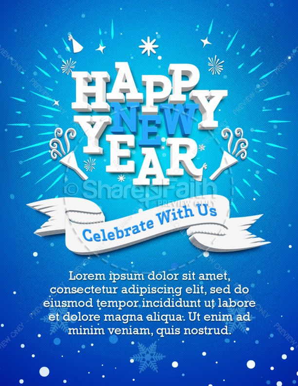 Happy New Year Winter Church Flyer Template Flyer Templates