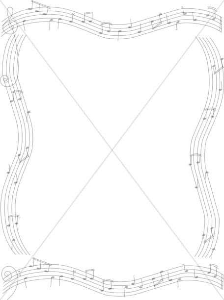Musical notes on staves Frame Church Music Clipart