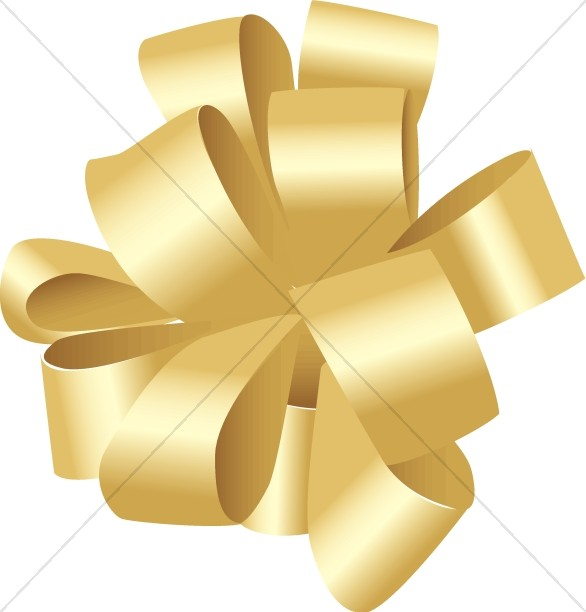 Gold Birthday Bow Church Birthday Clipart