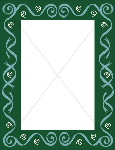 Green Frame with Green Ribbon Swirls Winter Borders - snowflake borders for word