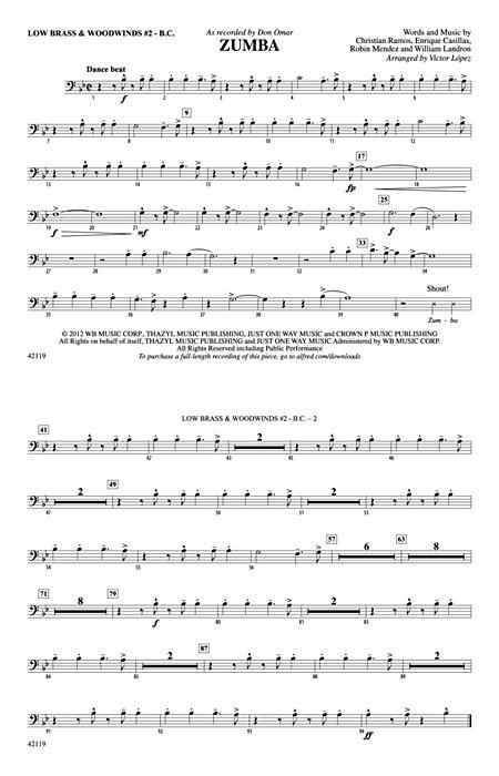 Zumba Low Brass  Woodwinds #2 - Bass Clef - Alfred Publishing