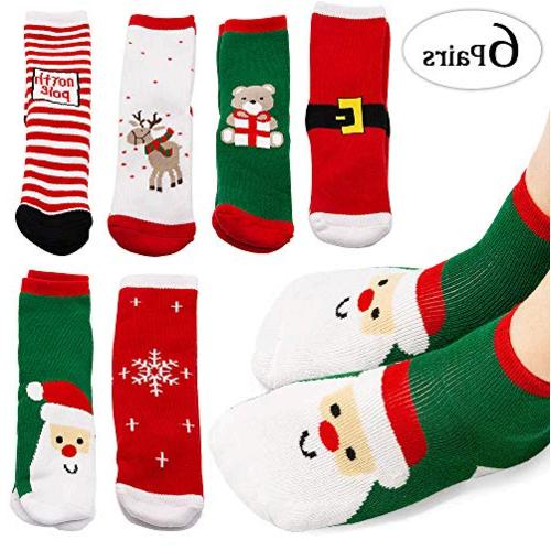 Toddler 4 Years Old Shoe Size Christmas Socks Mmtx 6 Pairs Cute Cartoon Cotton Socks