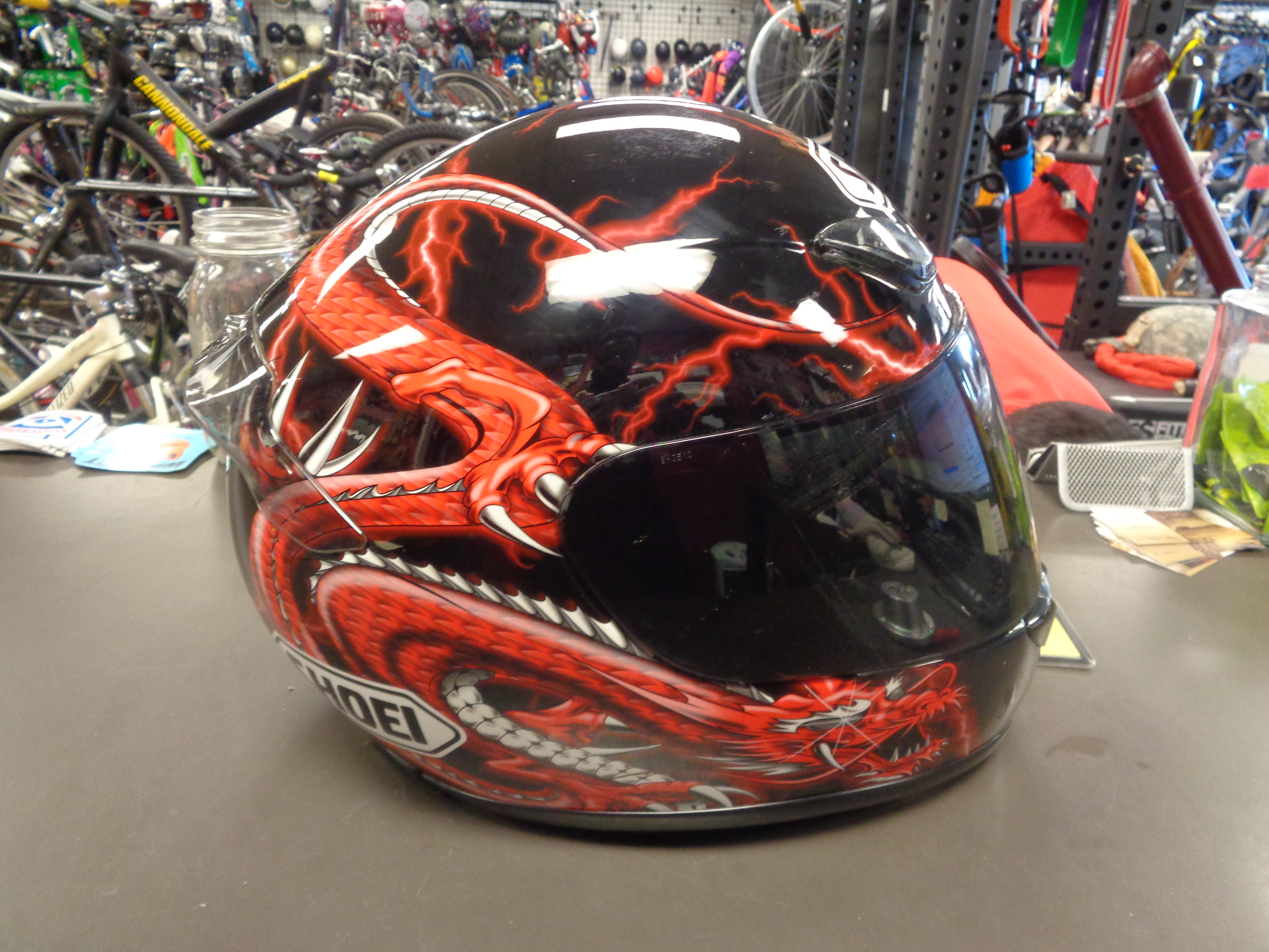 Used Shoei Red Dragon Motorcycle Helmet W Clear Visor And