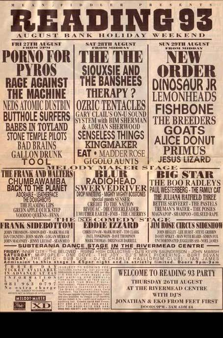 Sun Arts Reading Festival 1993 Reading Line-up, Photos & Videos Aug