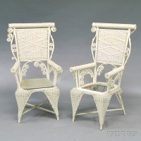 Two Similar White-painted Fancy Wicker Chairs and a Mid ...