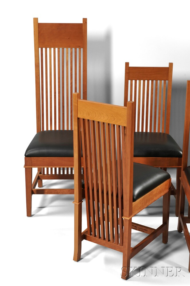 Eight Frank Lloyd Wright Robie House Dining Chairs by