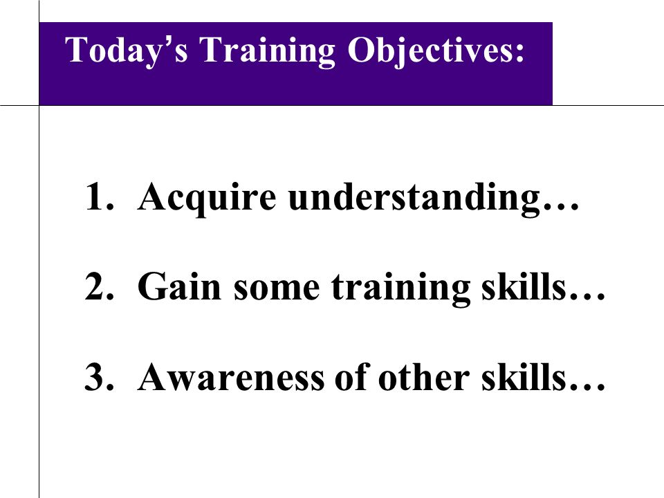 From Speaker to Trainer Speaking Objectives 1Inform 2Educate 3