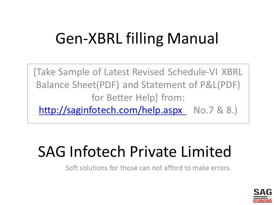 Gen-XBRL filling Manual Take Sample of Latest Revised Schedule-VI
