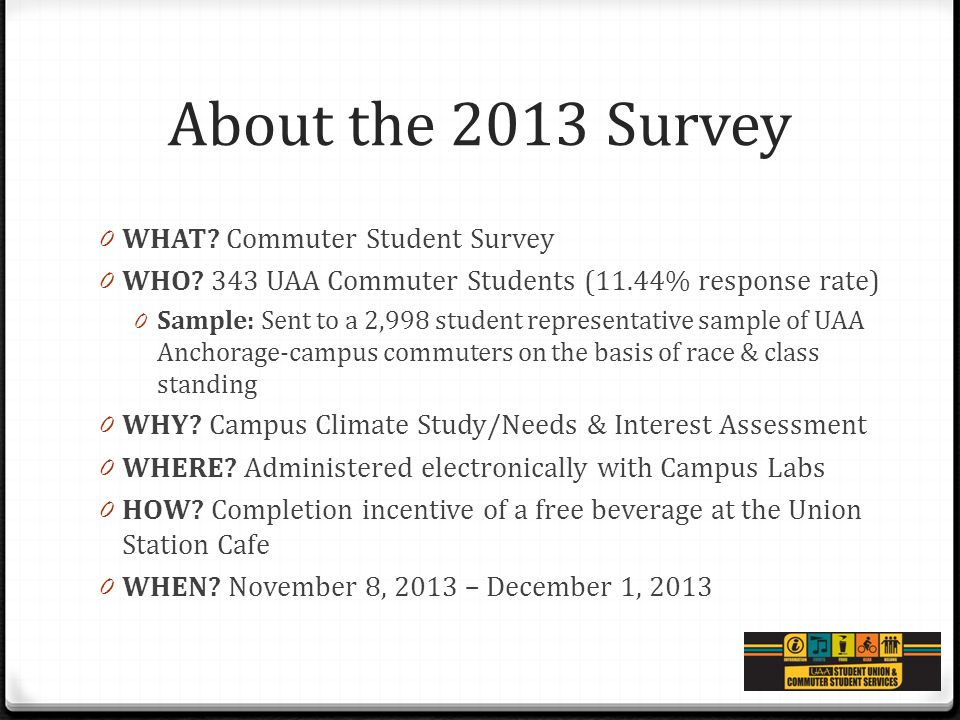 Commuter Student Survey Fall 2013 Assessment Brown Bag With Whitney - sample student survey
