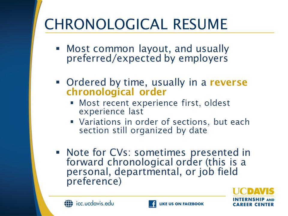 Resumes Part II Formats FORMAT OPTIONS  Resume organizational - functional vs chronological resume
