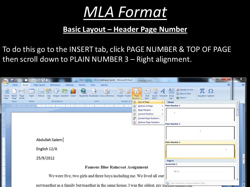 MLA Format You will need to submit ALL assignments for assessment