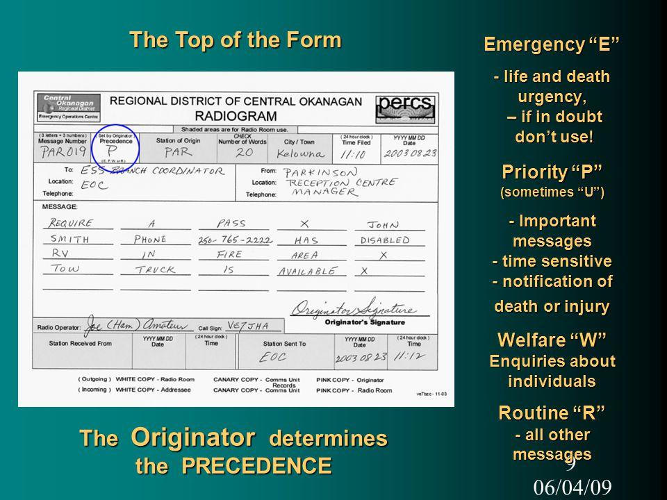 06/04/09 1 C O R D EOC Logistics Communications Unit Messages