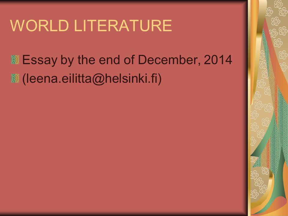 world literature essay world literature tuesday aud iv thursday aud - world literature essay examples