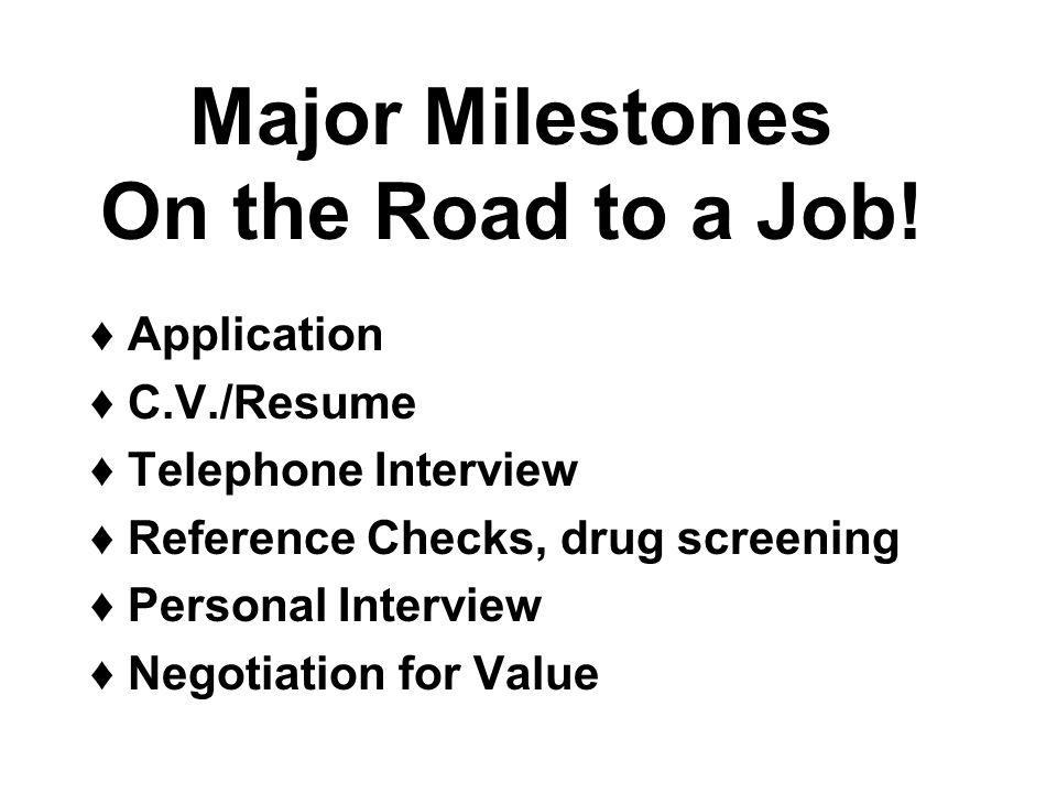 Major Milestones On the Road to a Job! ♢ Application ♢ CV/Resume