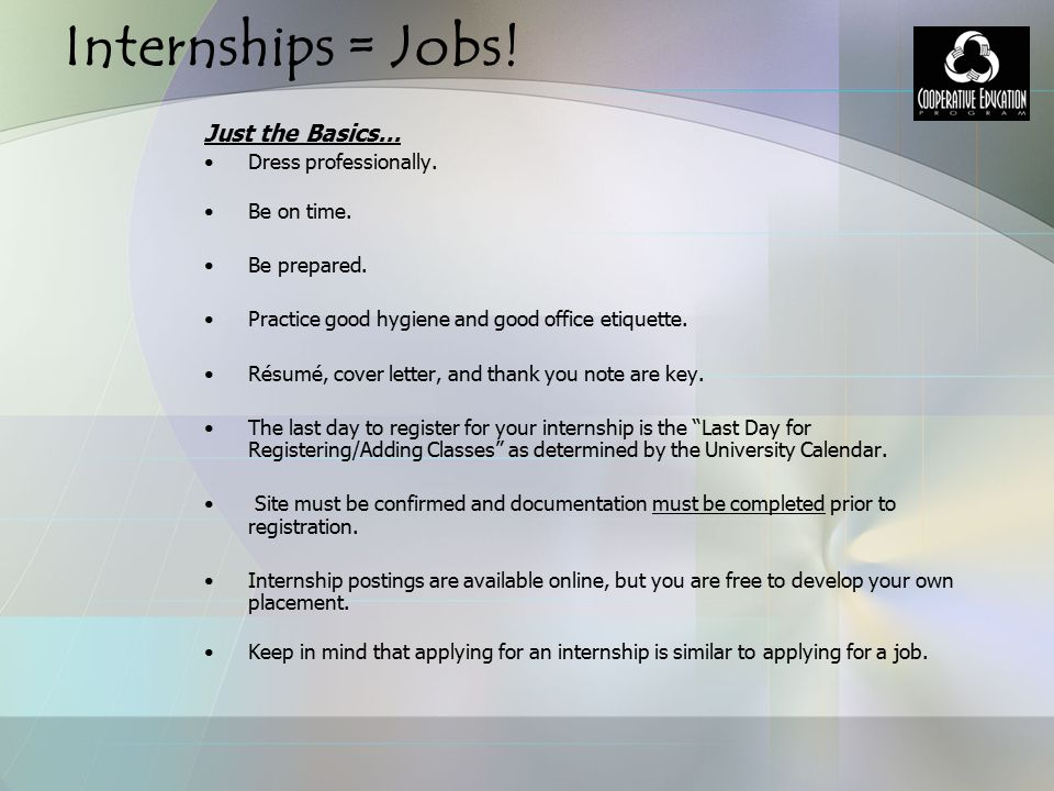 Co-Op Ed Internships for Human Services Students - ppt download - office intern job description