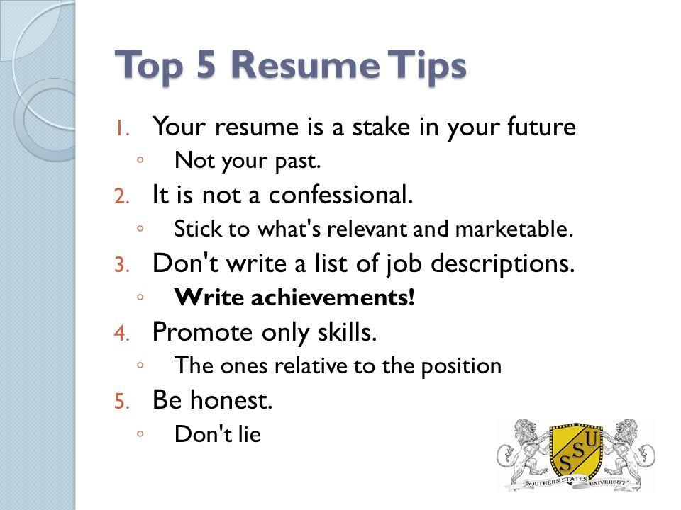 5 Resume Tips oakandale - 5 resume tips