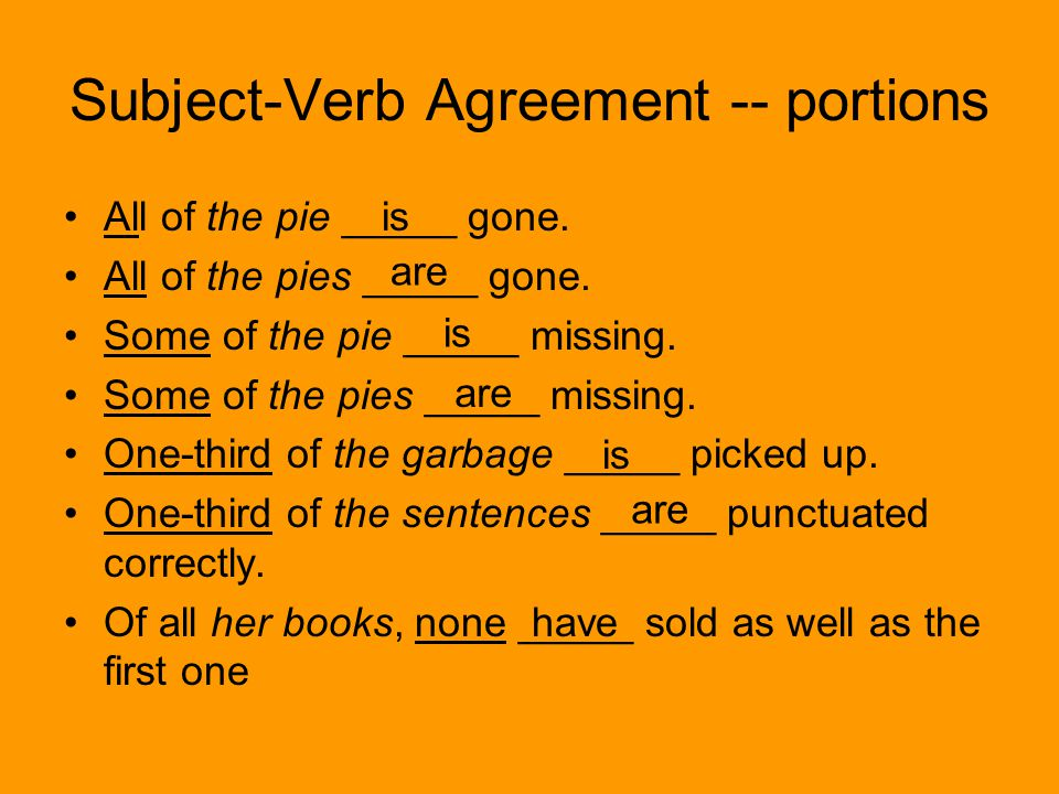 Subject-Verb Agreement -- portions With words that indicate portions