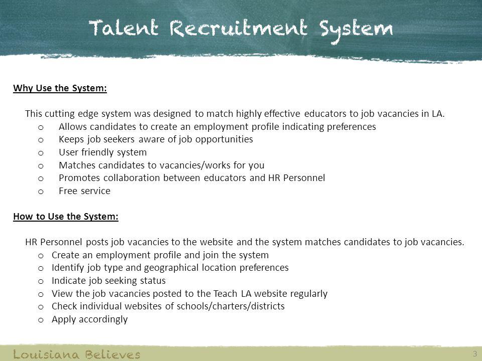 Talent Recruitment System Teach LA Website Fall ppt download