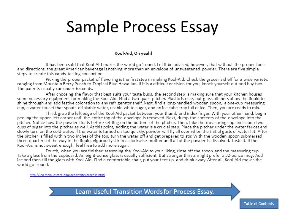 examples of process essay sample of a process essay co writing a - examples of