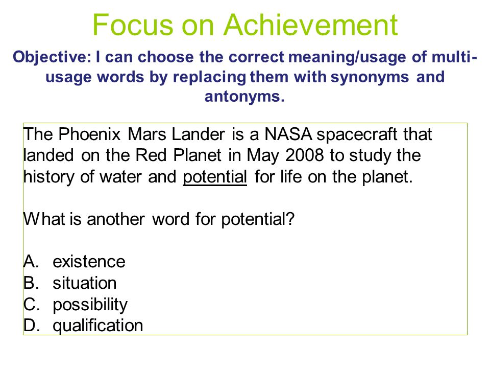 Focus on Achievement Objective I can choose the correct meaning - words for achievement