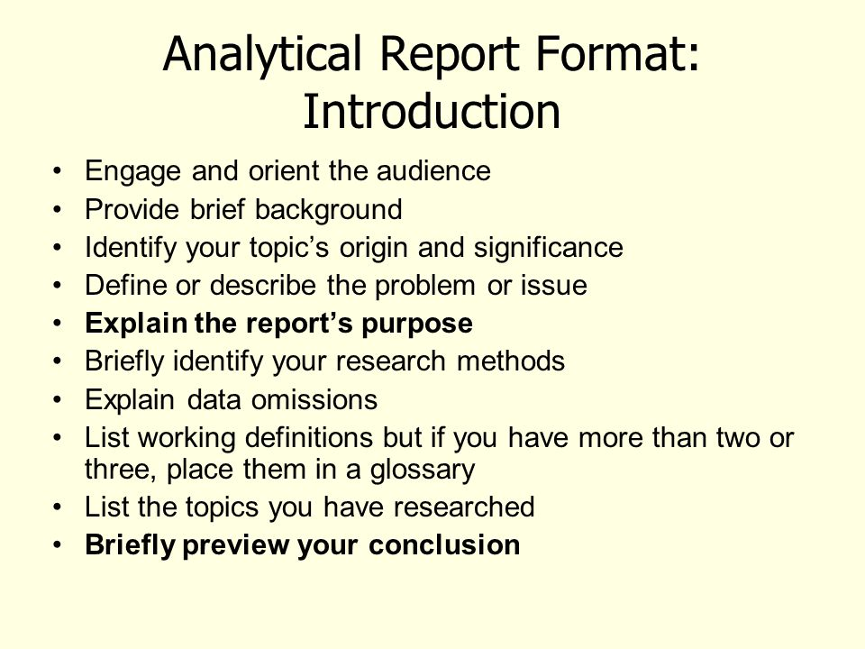 Learning Outcomes from the Analytical Report Unit Understand what - analytical report format