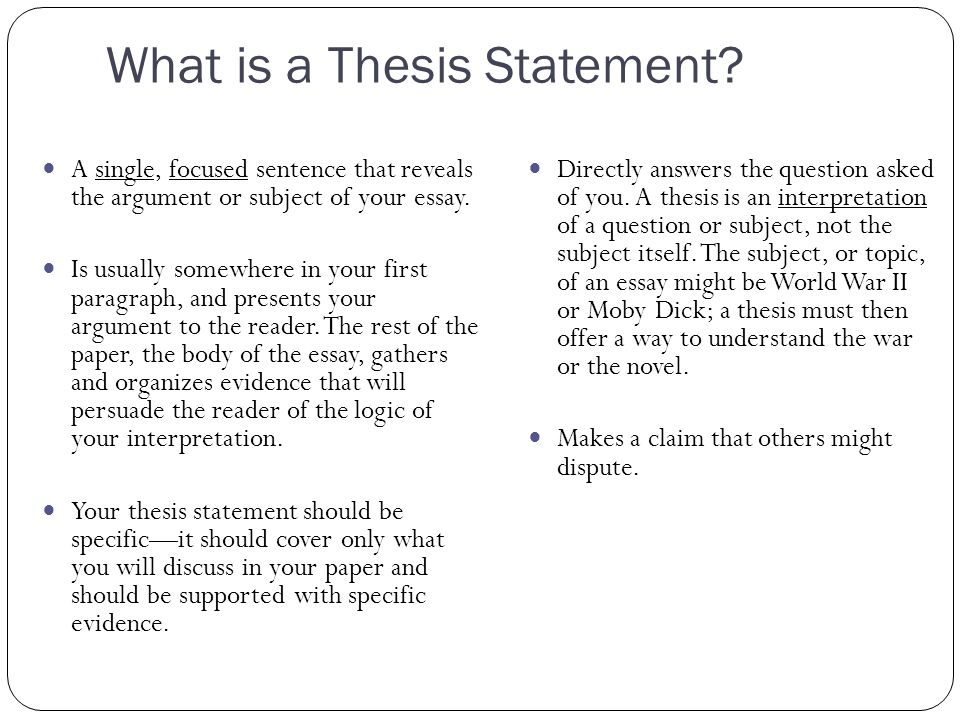 what is the thesis of an essay the central focus of any essay thesis