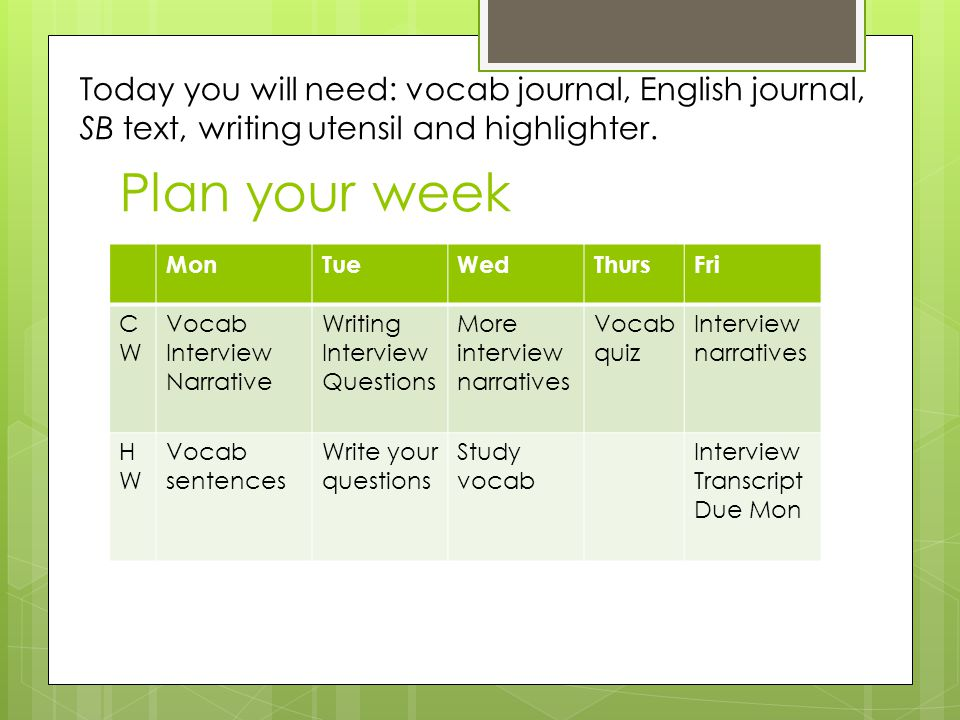 Plan your week MonTueWedThursFri CWCW Vocab Interview Narrative